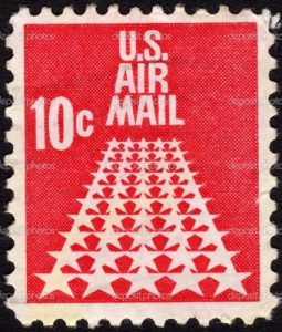 United States standard postage stamp size used for airmail