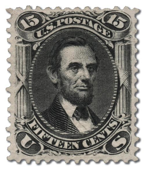 1875 black lincoln stamp
