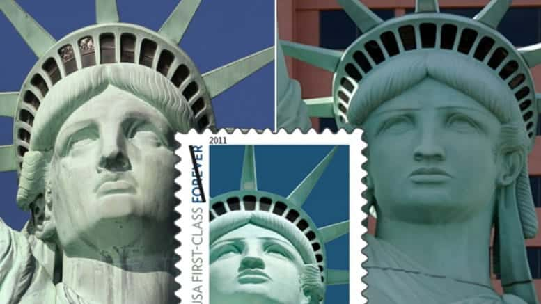 the real Statue of Liberty next to a copy and a flawed stamp