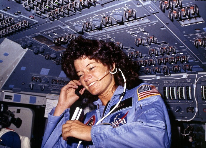 Sally Ride in a space ship